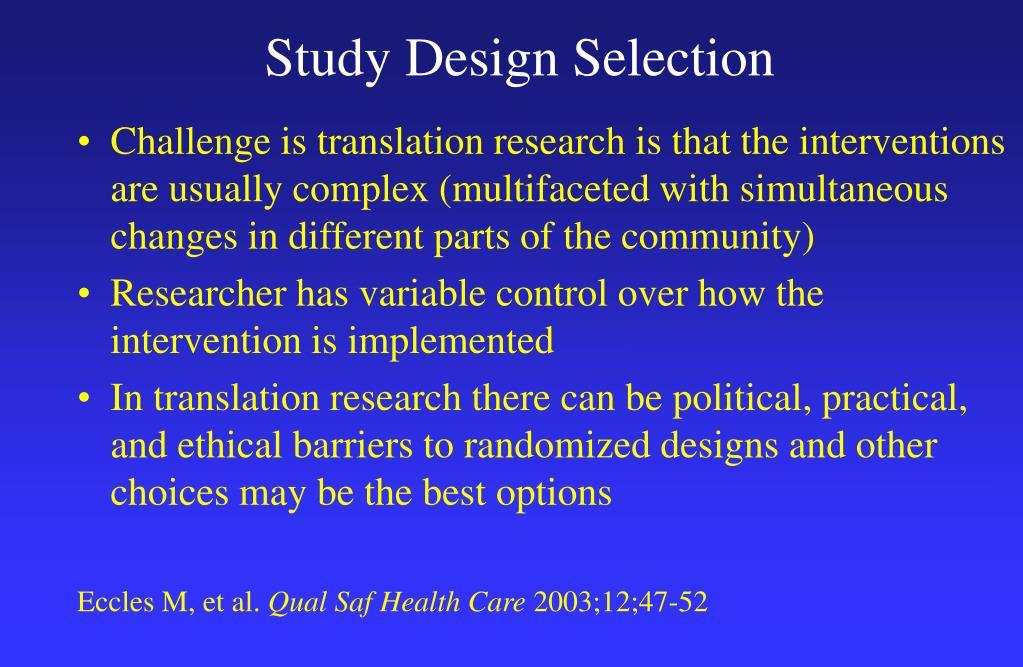 Study Design Selection