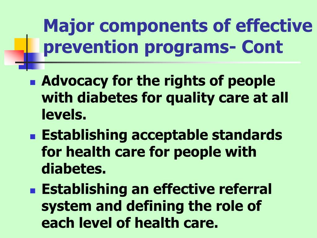 Major components of effective prevention programs- Cont
