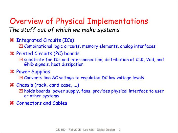 Overview of physical implementations l.jpg