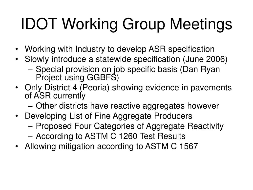 IDOT Working Group Meetings