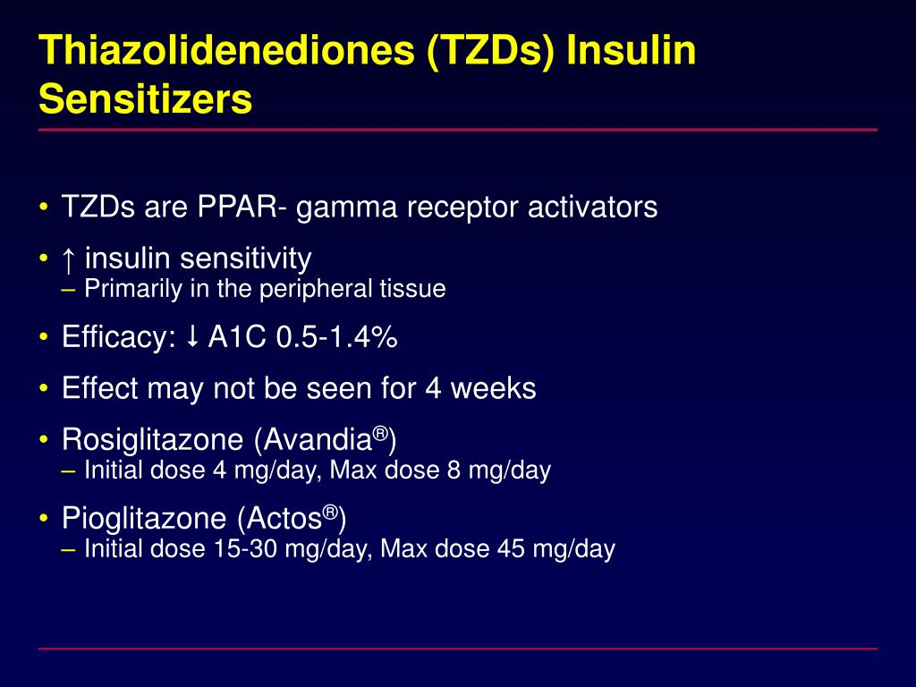Thiazolidenediones (TZDs) Insulin Sensitizers
