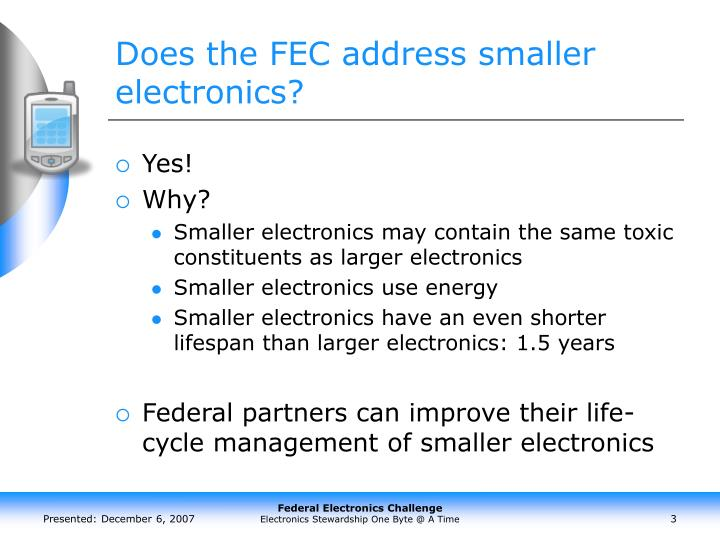 Does the fec address smaller electronics