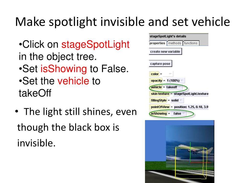 Make spotlight invisible and set vehicle