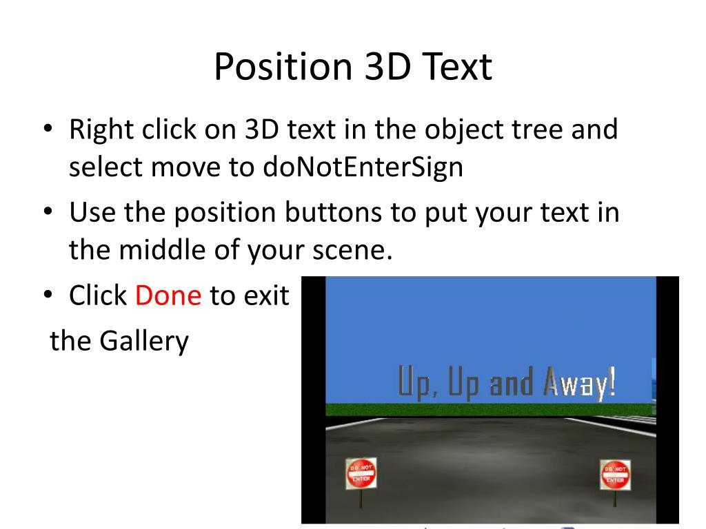 Position 3D Text