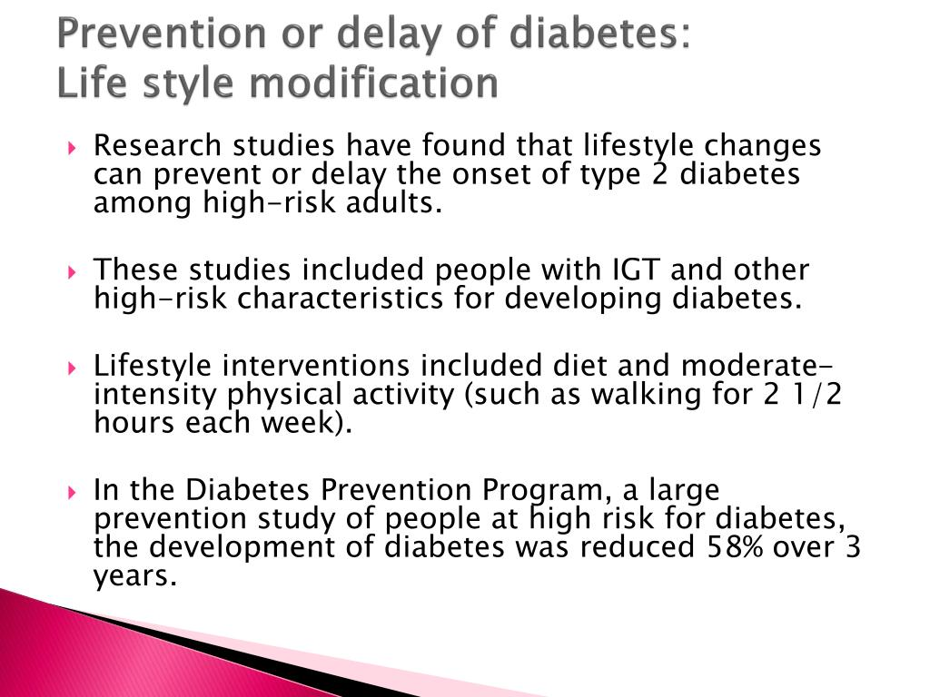 Prevention or delay of diabetes: