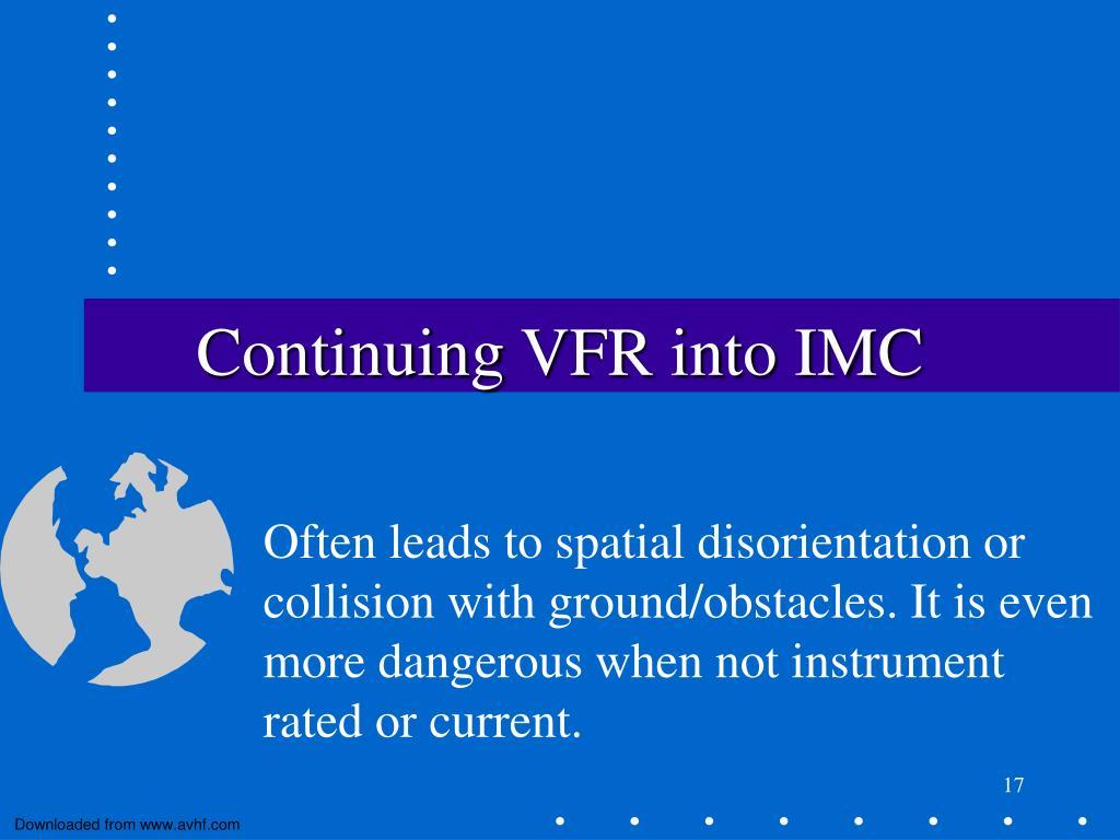 Continuing VFR into IMC