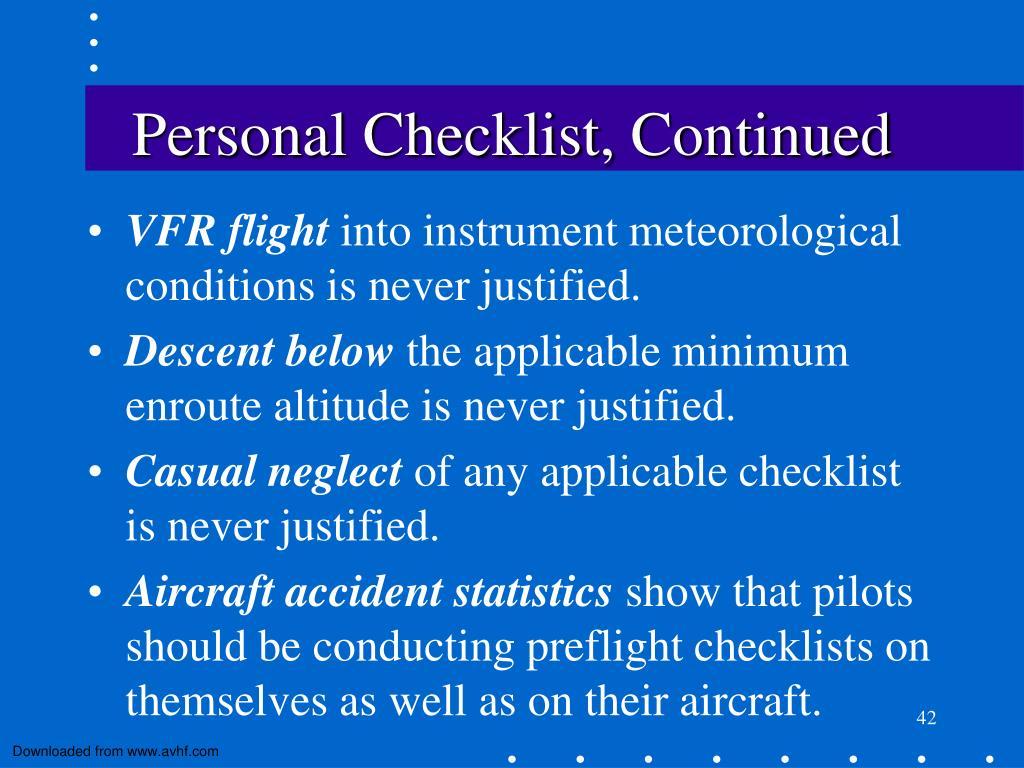 Personal Checklist, Continued