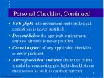 personal checklist continued