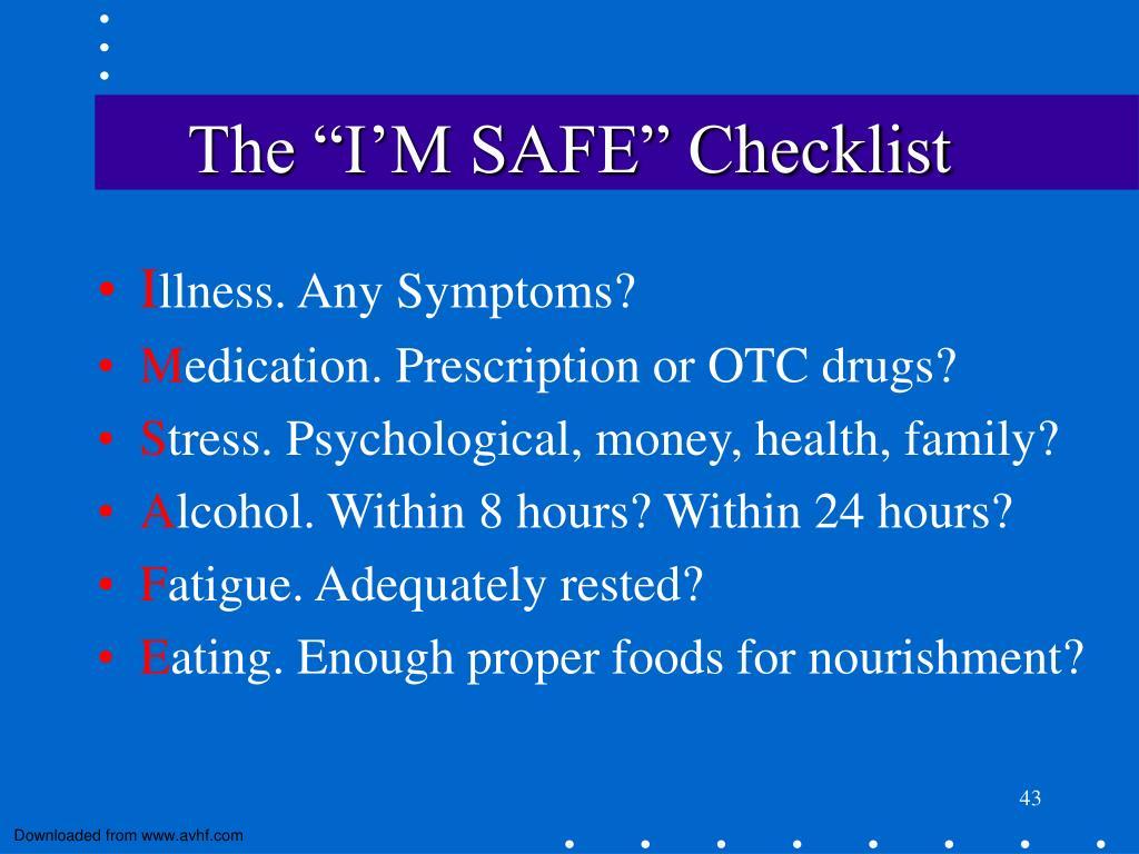 """The """"I'M SAFE"""" Checklist"""
