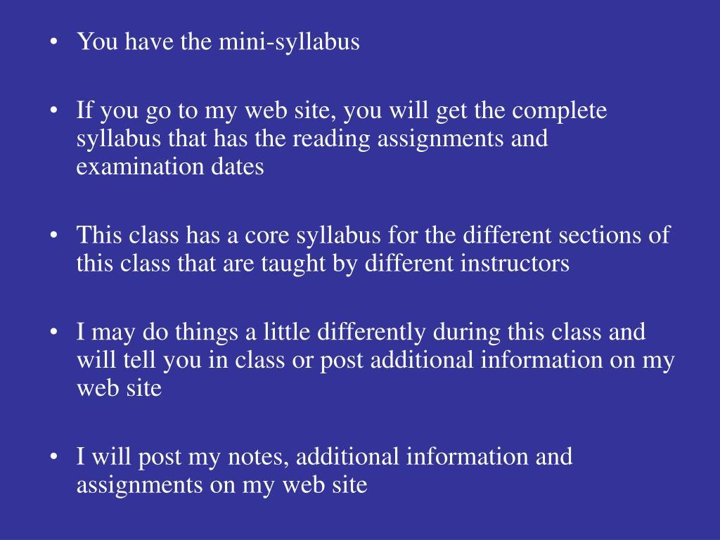 You have the mini-syllabus