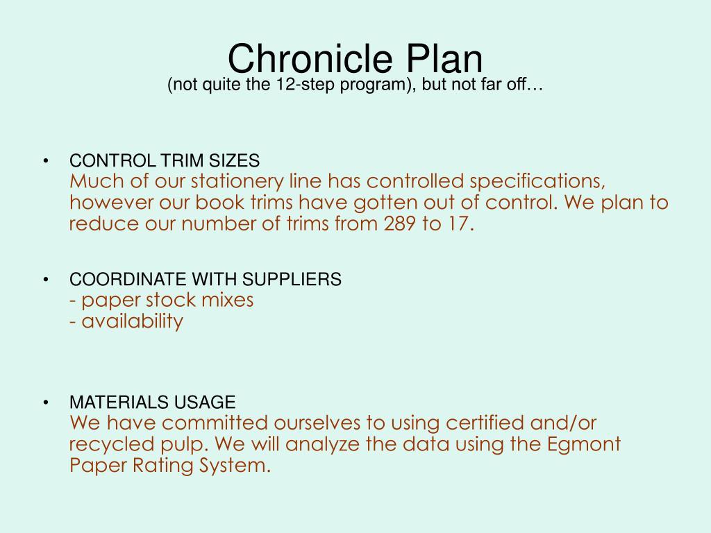 Chronicle Plan