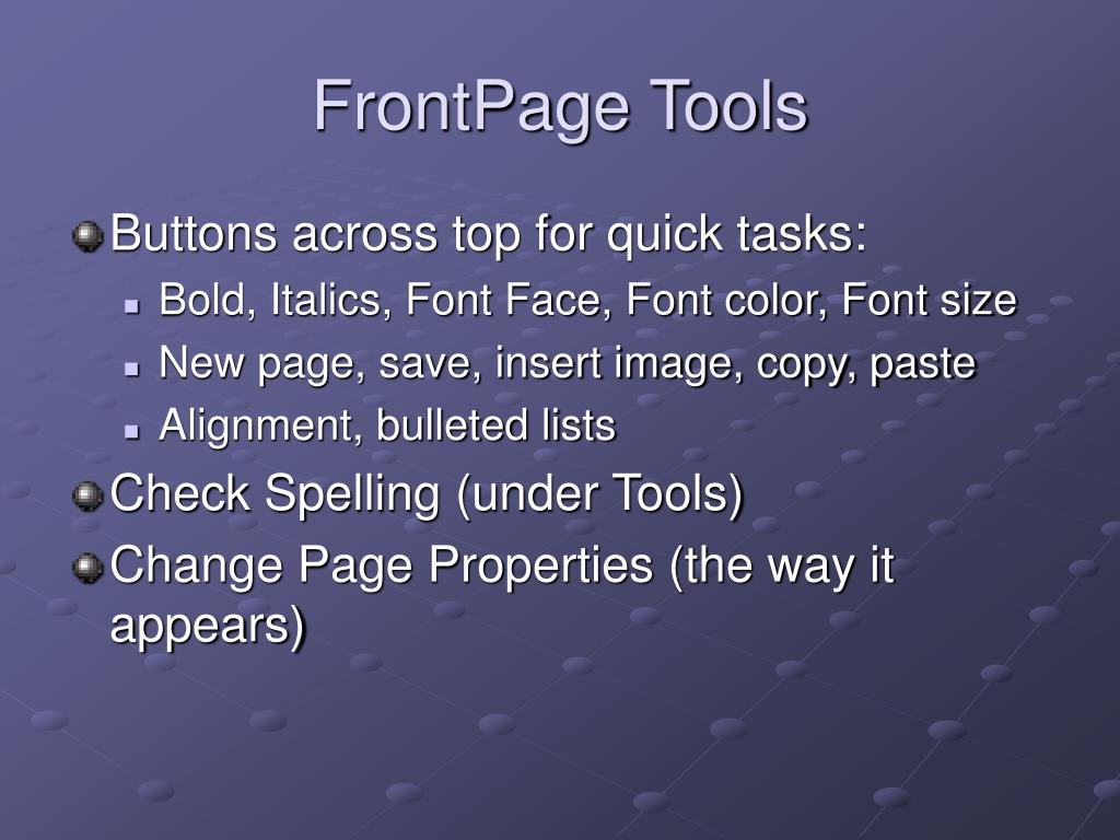 FrontPage Tools