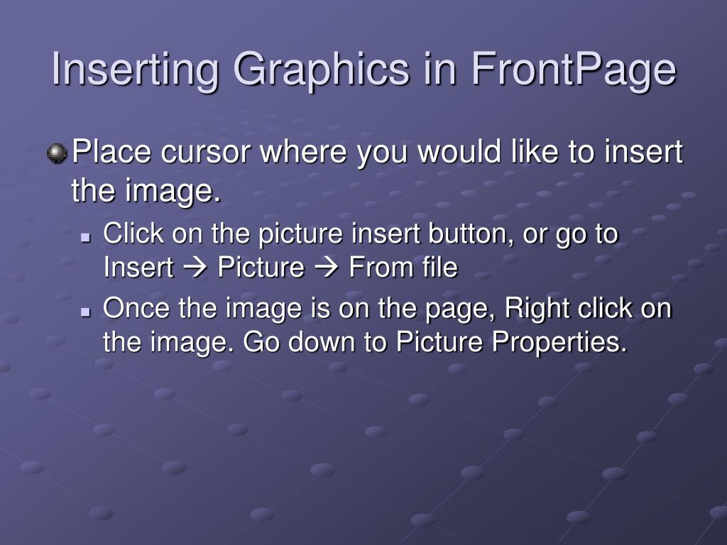 Inserting Graphics in FrontPage