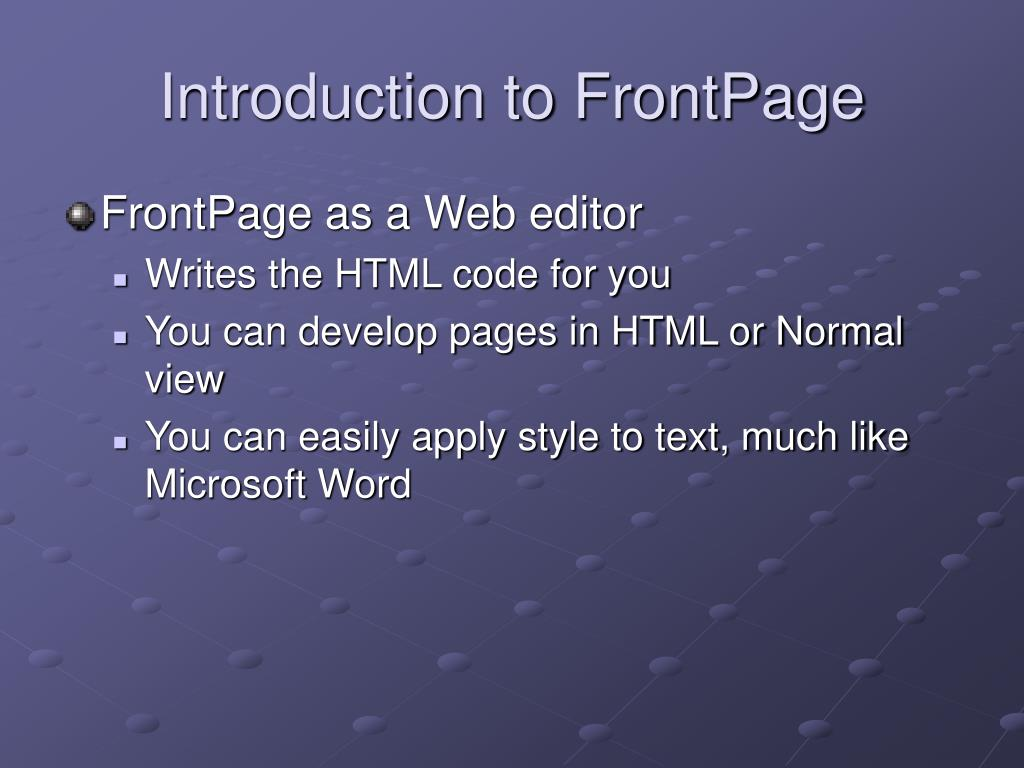 Introduction to FrontPage