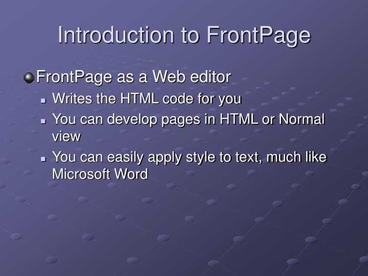 Introduction to frontpage l.jpg