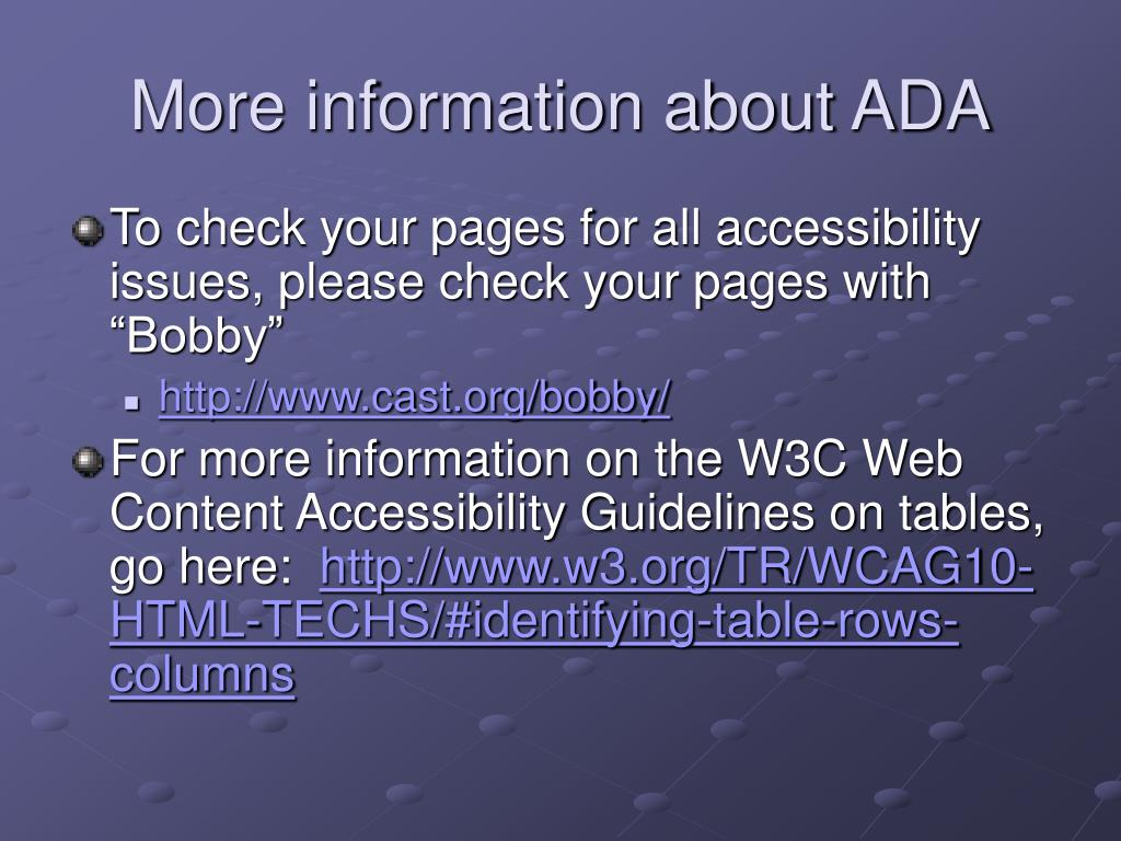 More information about ADA