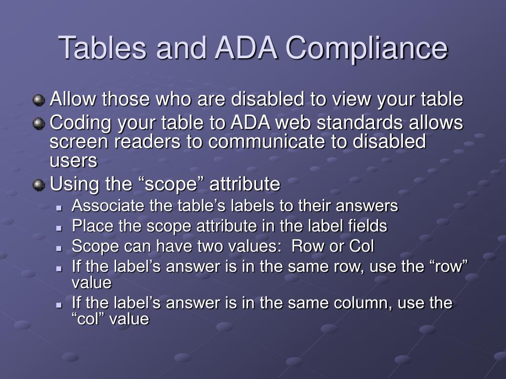 Tables and ADA Compliance