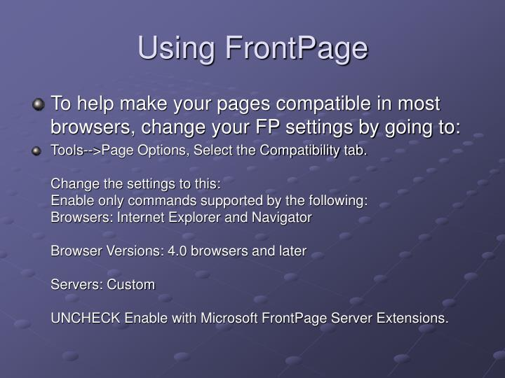 Using frontpage