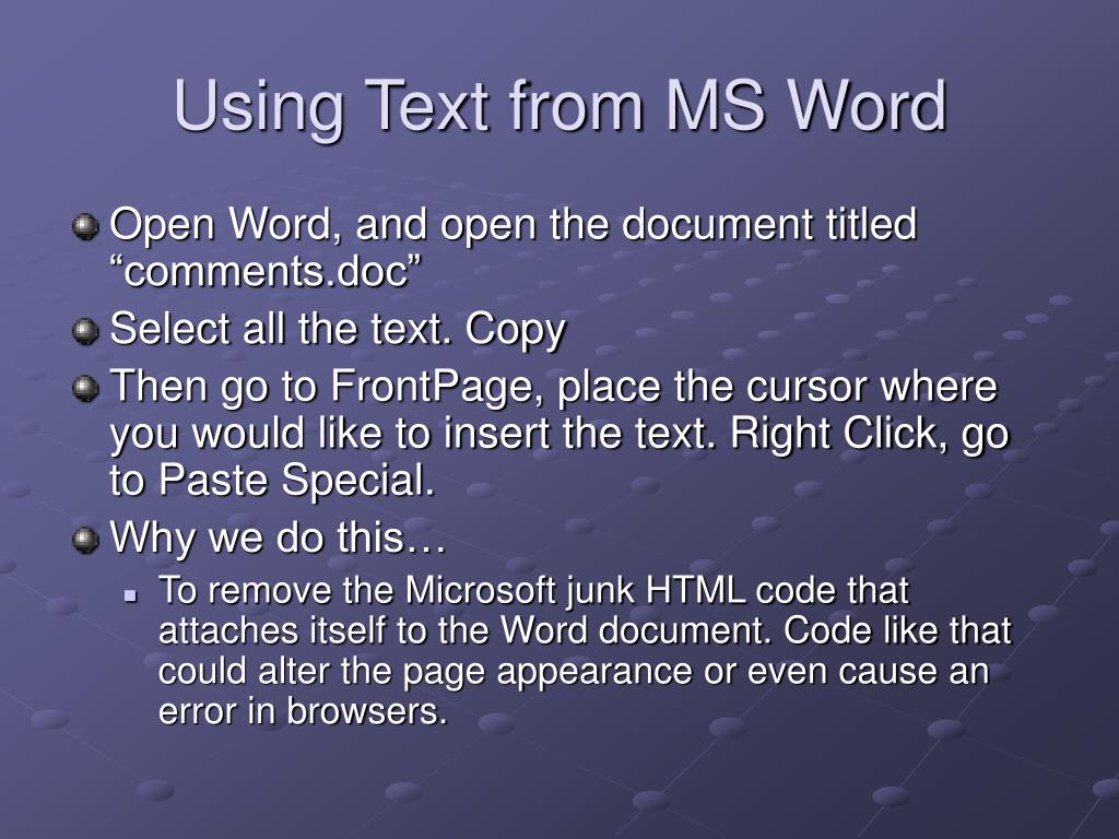 Using Text from MS Word
