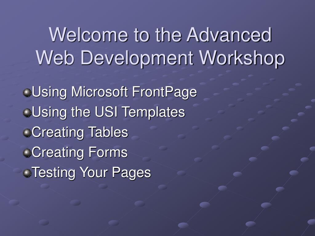Welcome to the Advanced Web Development Workshop