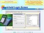 hand held login screen