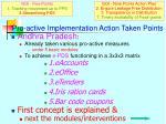 pro active implementation action taken points