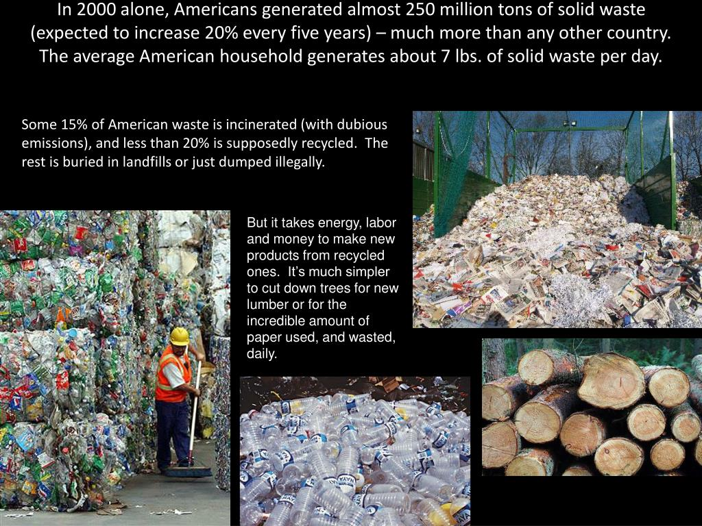 In 2000 alone, Americans generated almost 250 million tons of solid waste