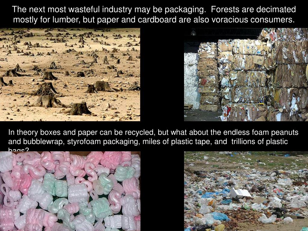 The next most wasteful industry may be packaging.  Forests are decimated mostly for lumber, but paper and cardboard are also voracious consumers.