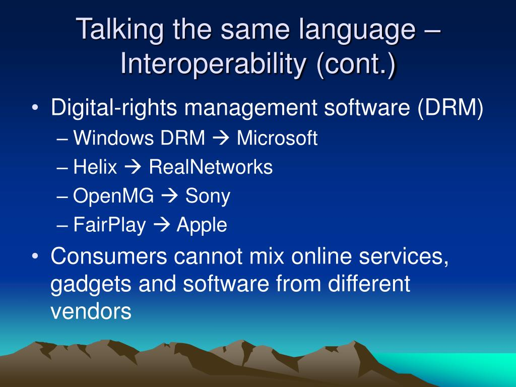 Talking the same language – Interoperability (cont.)