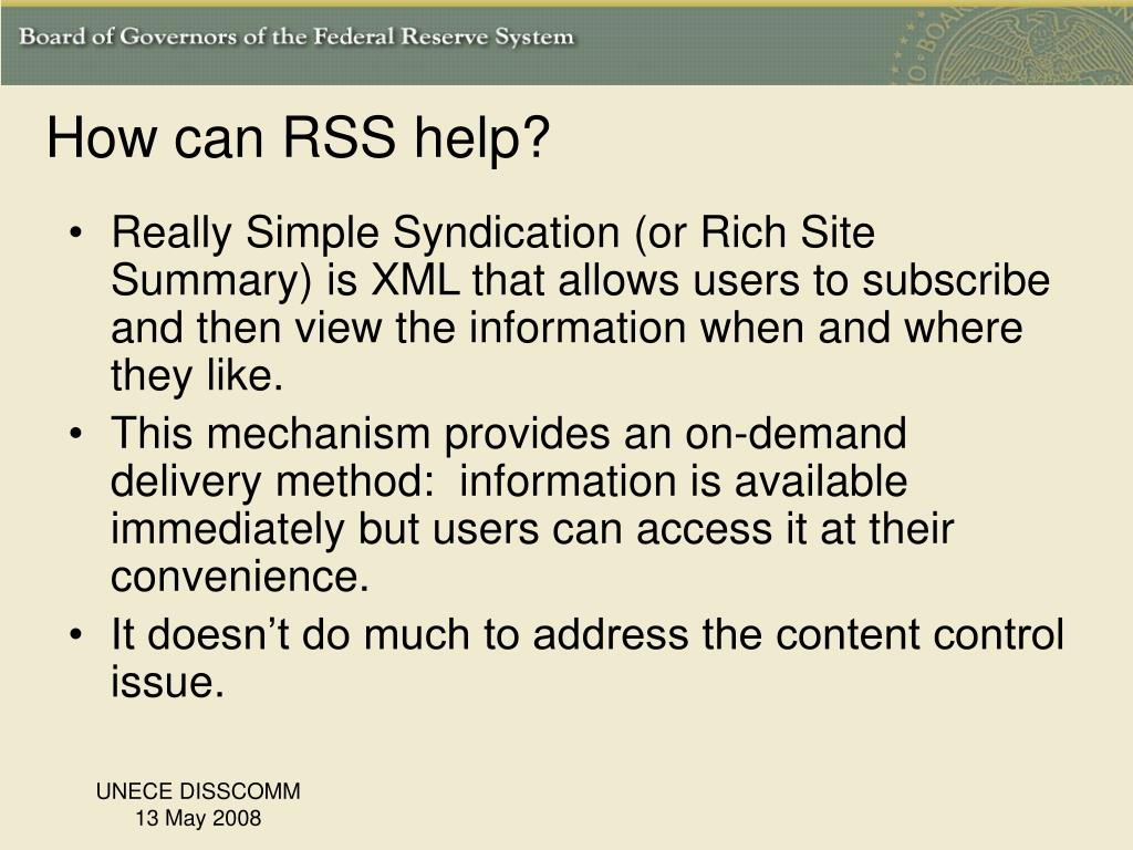 How can RSS help?