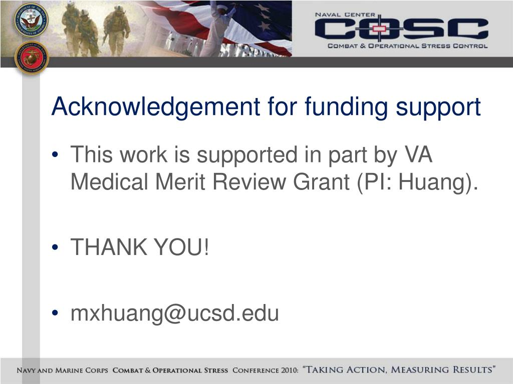 Acknowledgement for funding support