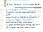 value drivers in diversification focus