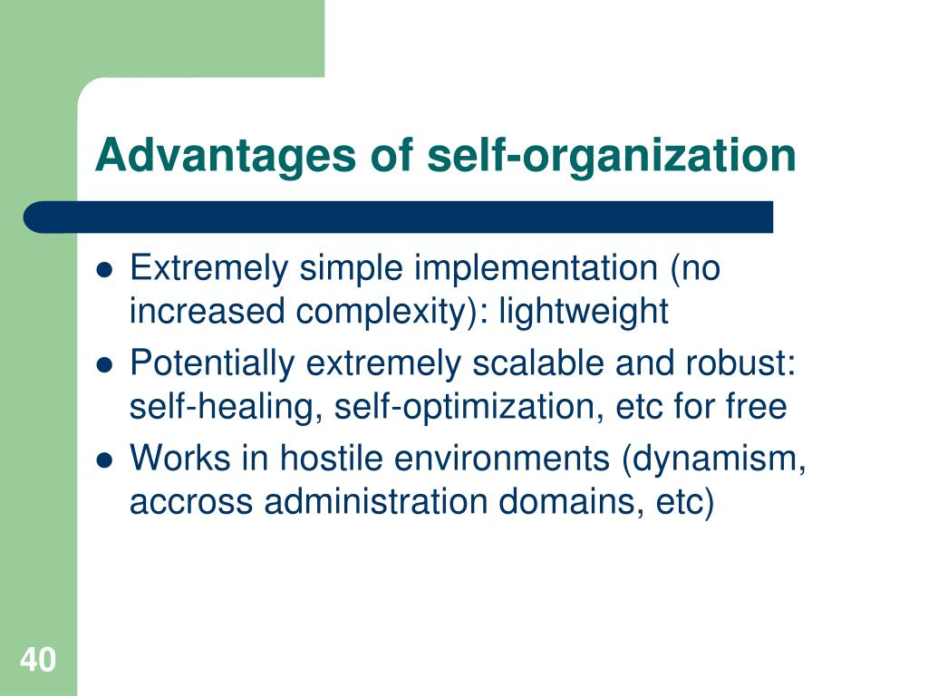 Advantages of self-organization