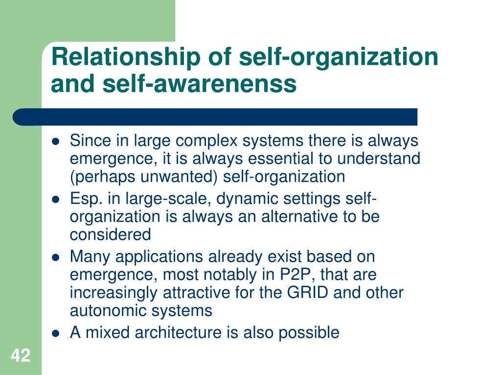 Relationship of self-organization and self-awarenenss