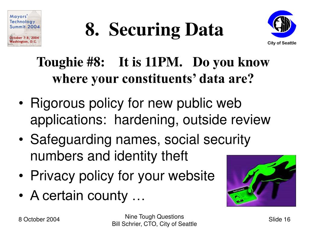 8.  Securing Data