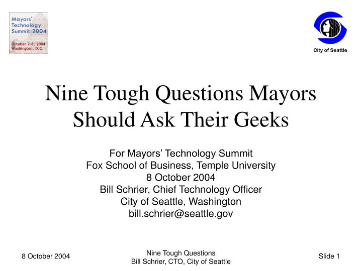 Nine tough questions mayors should ask their geeks