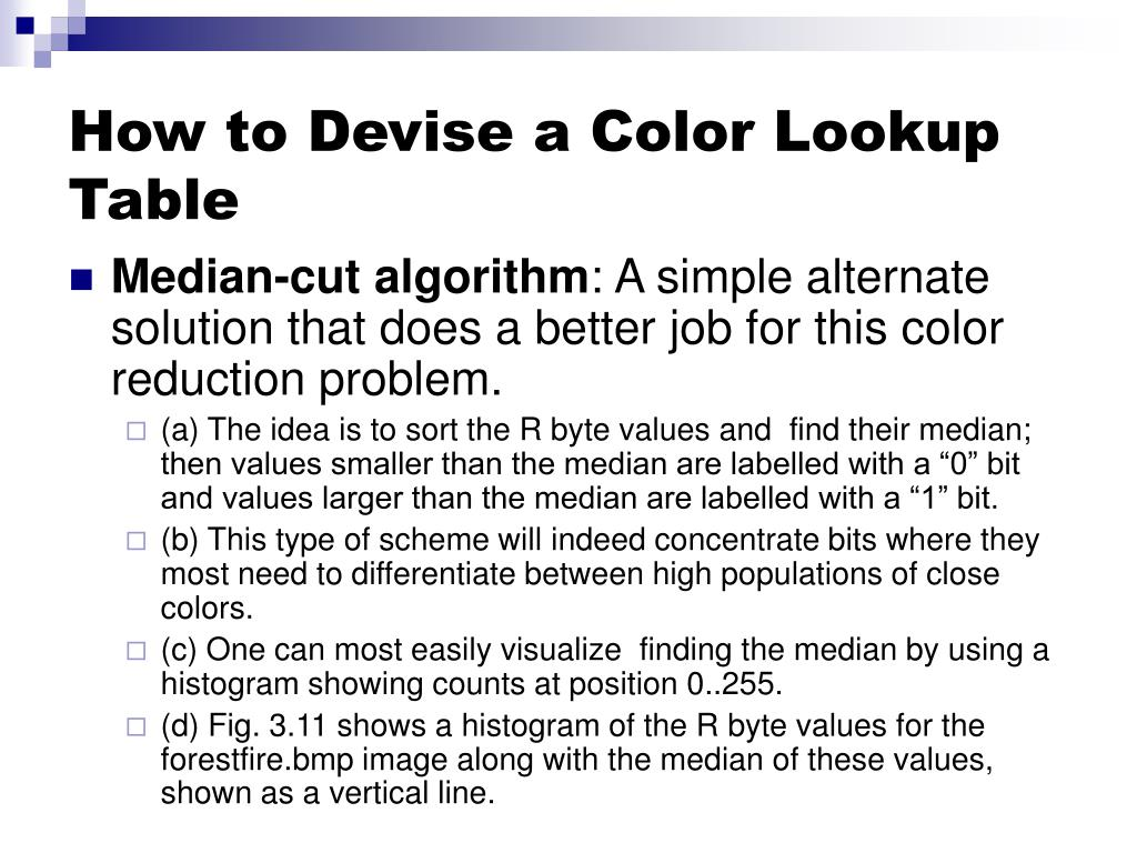 How to Devise a Color Lookup Table