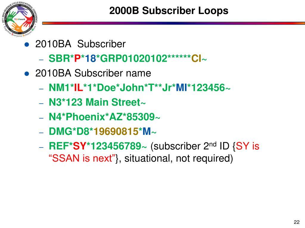 2000B Subscriber Loops