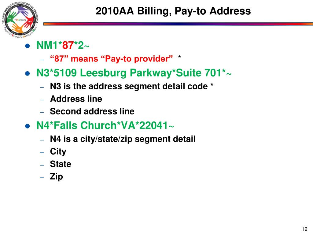 2010AA Billing, Pay-to Address