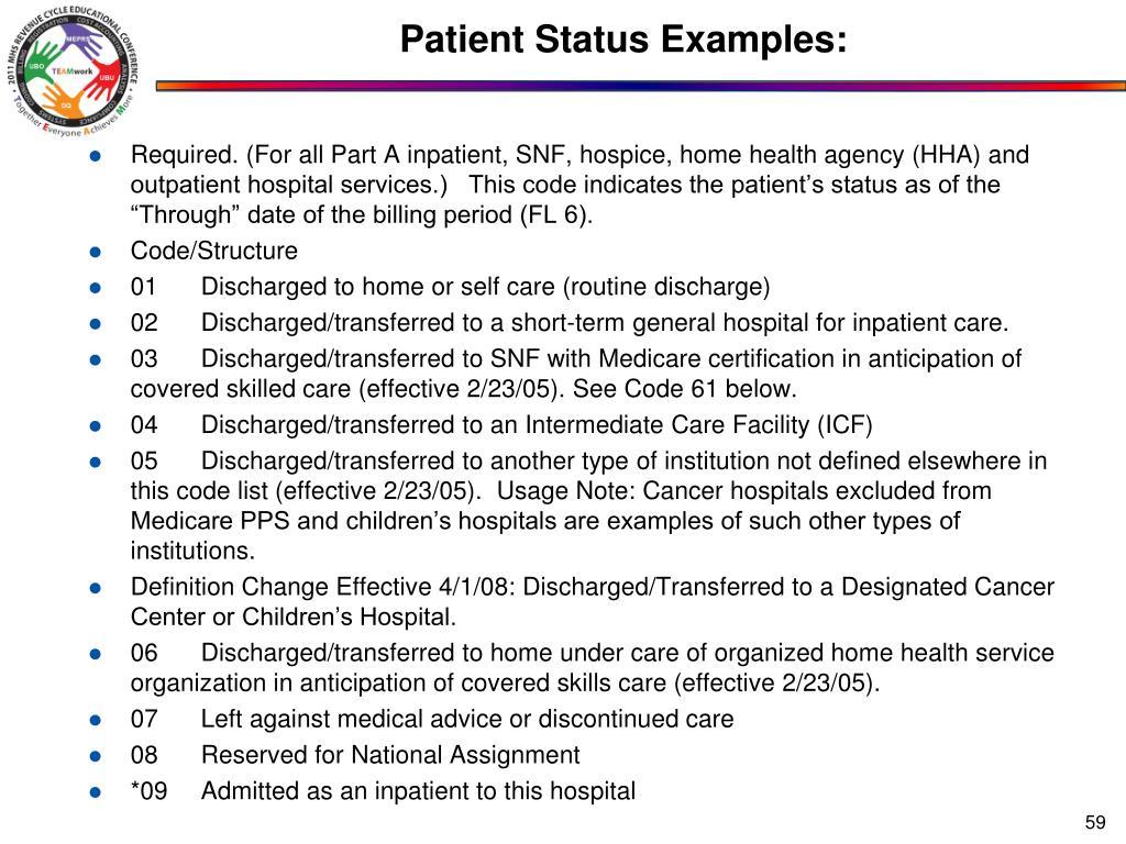 Patient Status Examples: