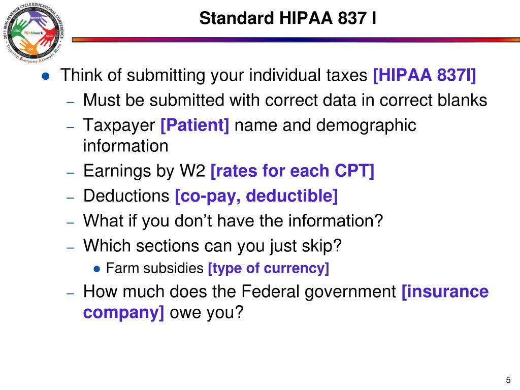 Standard HIPAA 837 I