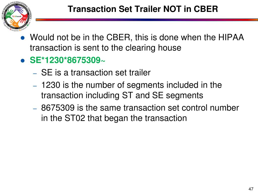 Transaction Set Trailer NOT in CBER