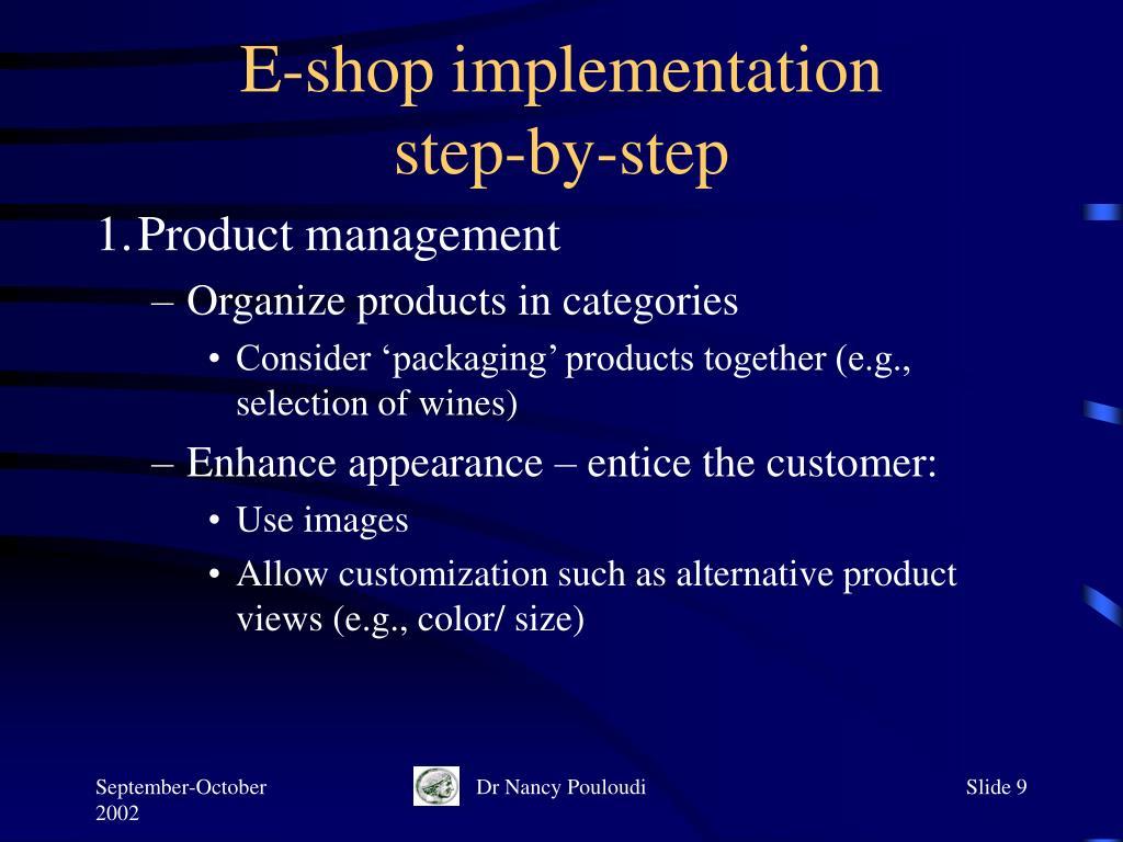 E-shop implementation