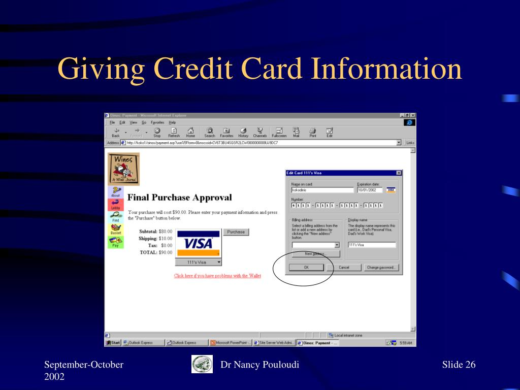 Giving Credit Card Information