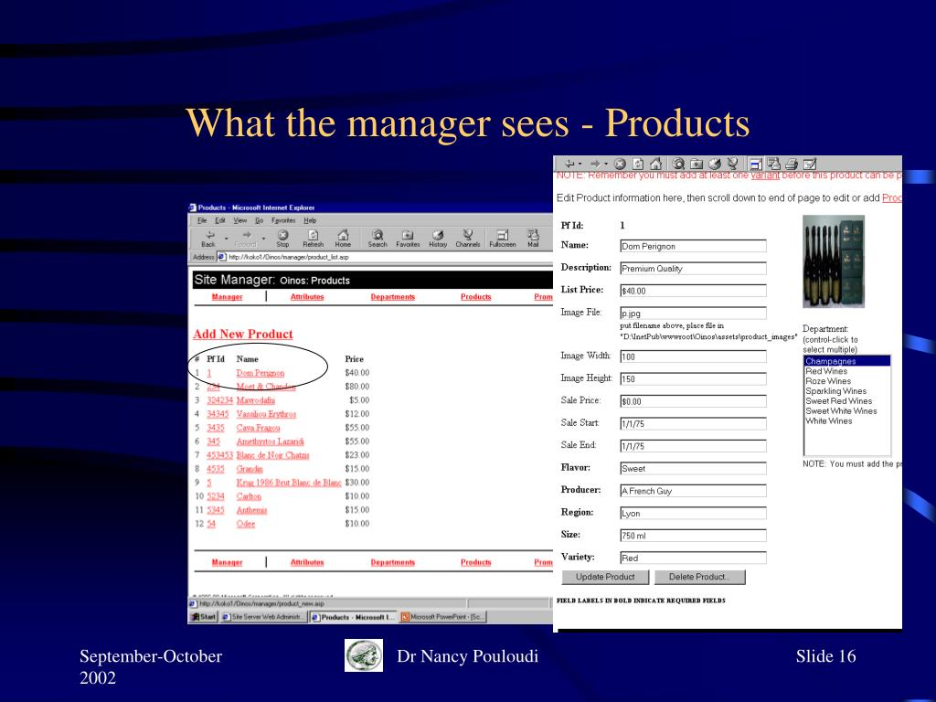 What the manager sees - Products
