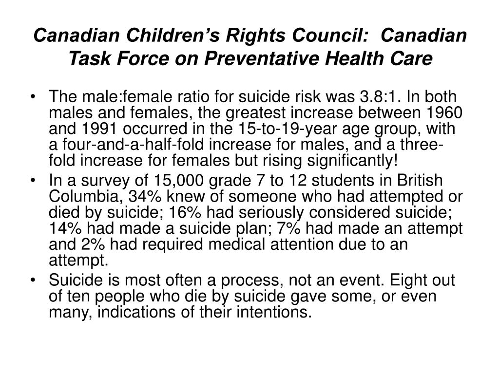 Canadian Children's Rights Council:  Canadian Task Force on Preventative Health Care