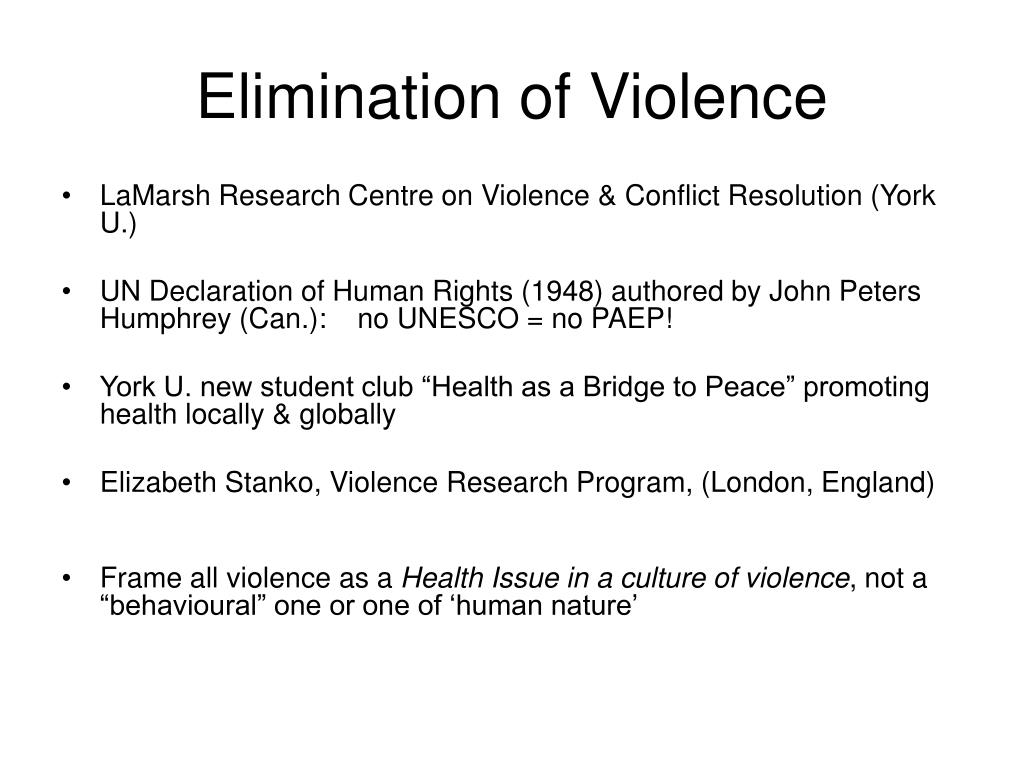 Elimination of Violence