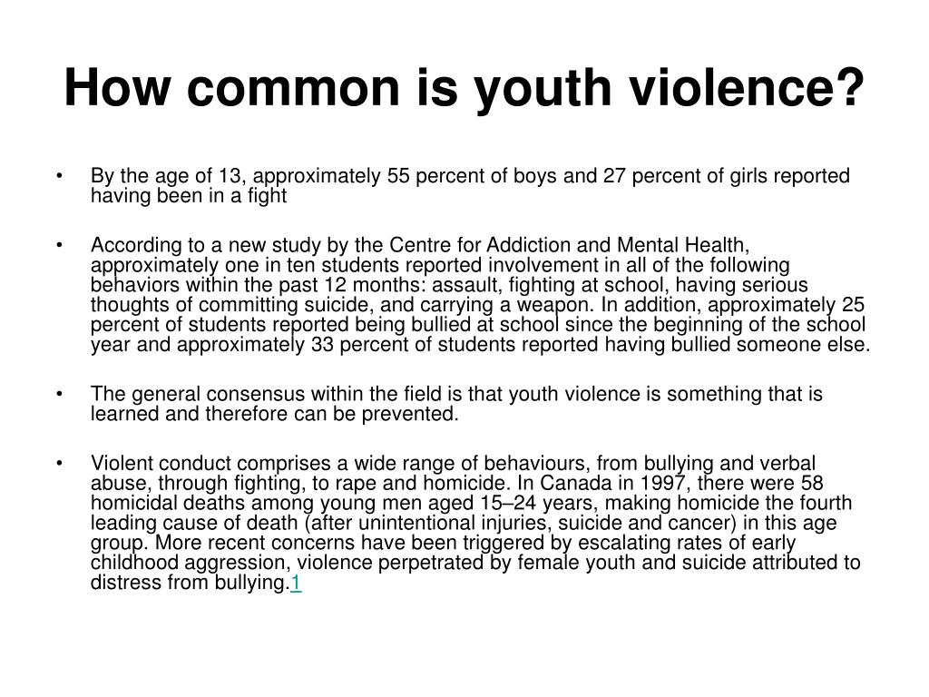How common is youth violence?
