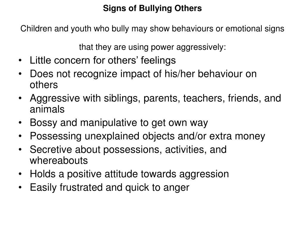 Signs of Bullying Others