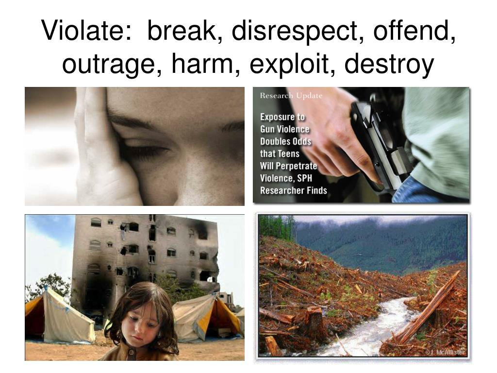 Violate:  break, disrespect, offend,  outrage, harm, exploit, destroy